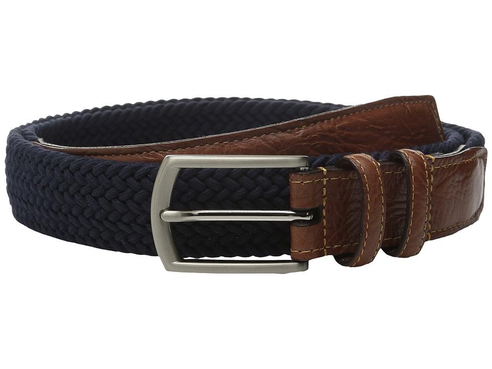 Torino Leather Co. 32MM Italian Woven Multi Cotton Elastic Navy Mens Belts