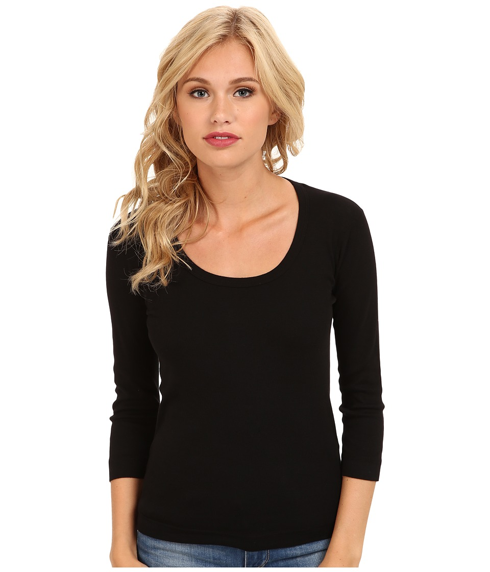 Three Dots 3/4 Sleeve Scoop Neck (Black) Women