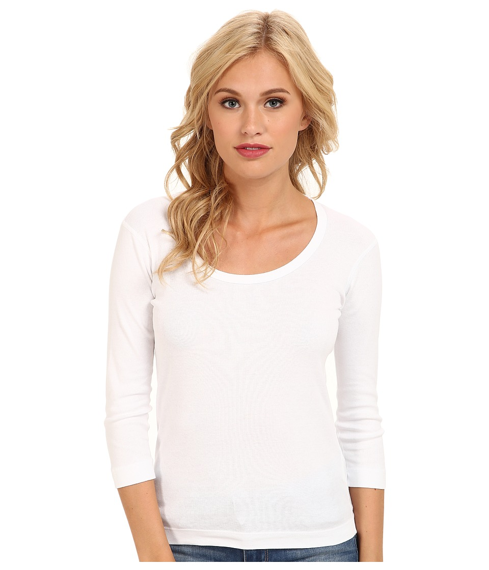 Three Dots 3/4 Sleeve Scoop Neck (White) Women