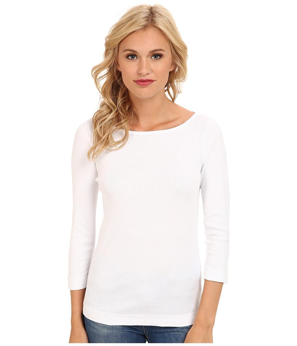 Three Dots 3/4 Sleeve British Tee (White) Women's Long Sl...