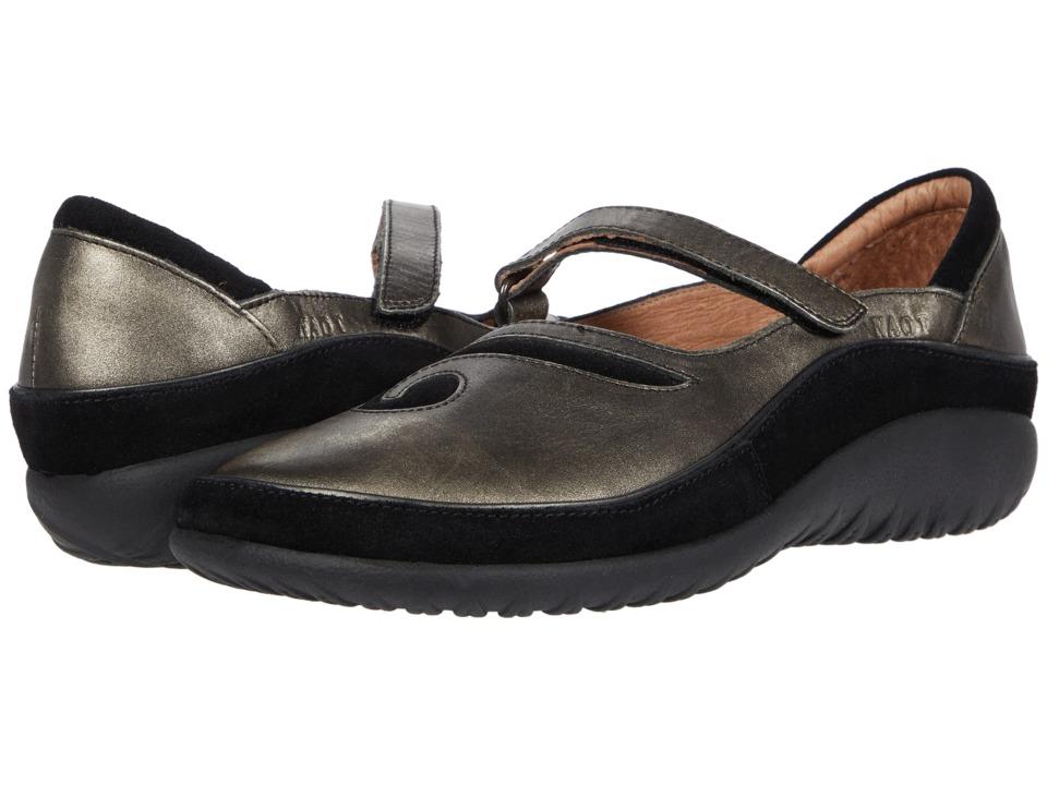 Naot Footwear Matai (Metal Leather/Black Suede) Maryjane Shoes