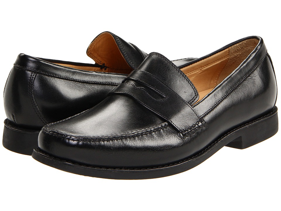 Johnston & Murphy - Ainsworth Penny (Black Veal) Mens Slip-on Dress Shoes