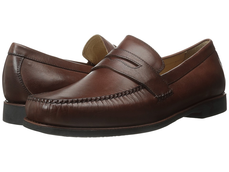 Johnston amp Murphy Ainsworth Penny Antique Mahogany Veal Mens Slip on Dress Shoes
