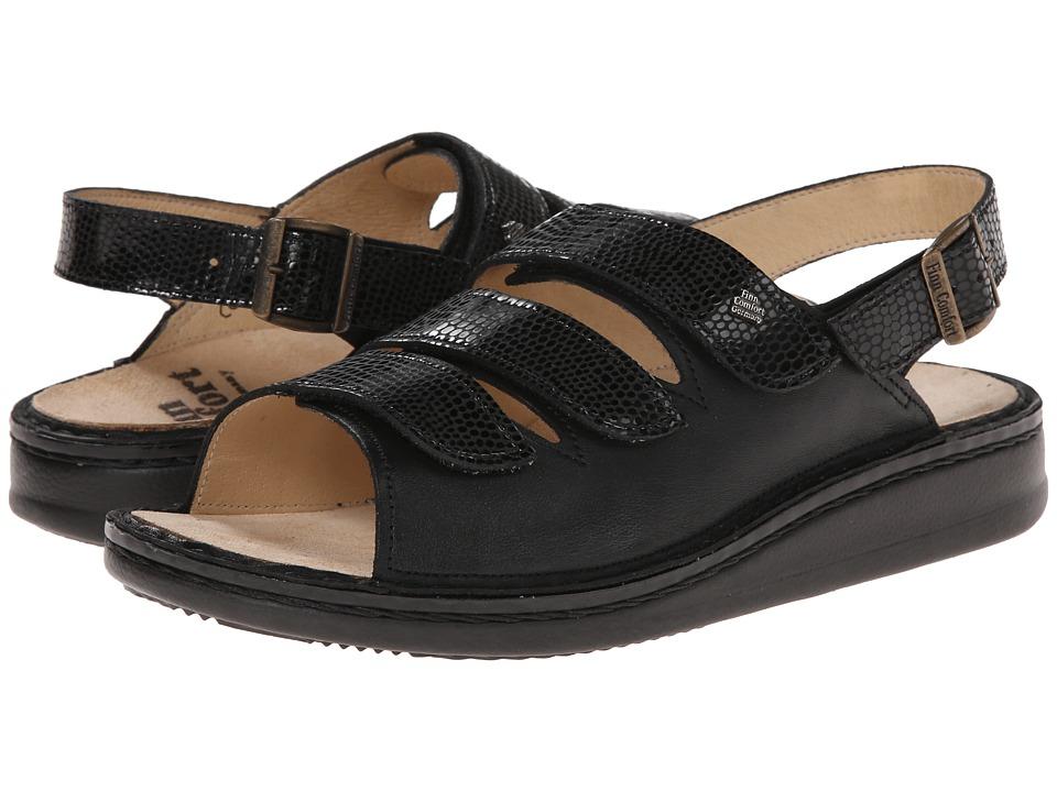 Finn Comfort Sylt 82509 (Black/Snake Nappa Soft Footbed) Women's Shoes