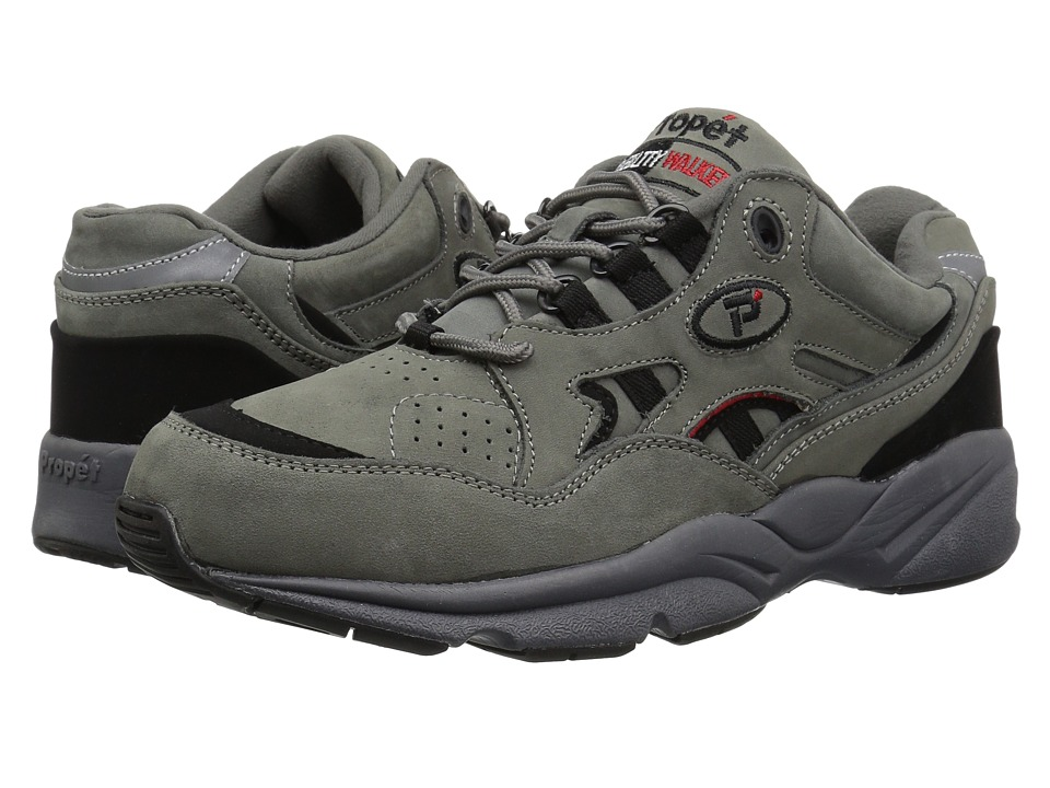 Propet - Stability Walker Medicare/HCPCS Code = A5500 Diabetic Shoe (Grey/Black Nubuck) Mens Walking Shoes