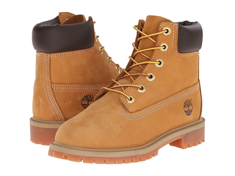 Timberland Kids 6 Premium Waterproof Boot Core Big Kid Wheat Nubuck Boys Shoes