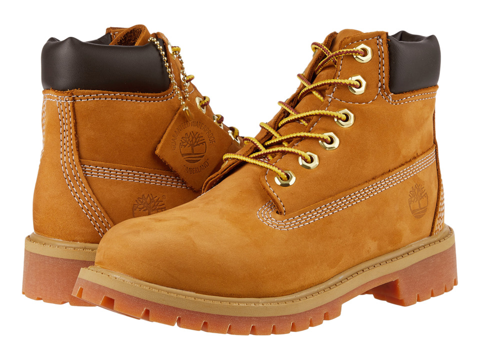 Timberland Kids 6 Premium Waterproof Boot Core (Little Kid) (Wheat Nubuck) Boys Shoes