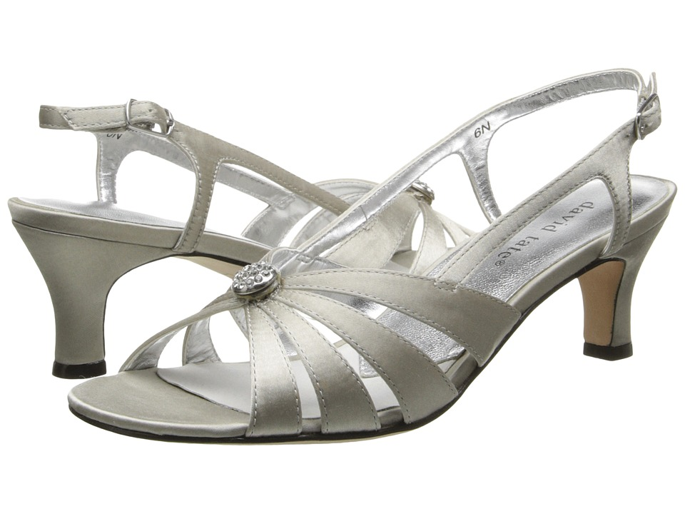 David Tate - Rosette (Silver Satin) Womens 1-2 inch heel Shoes