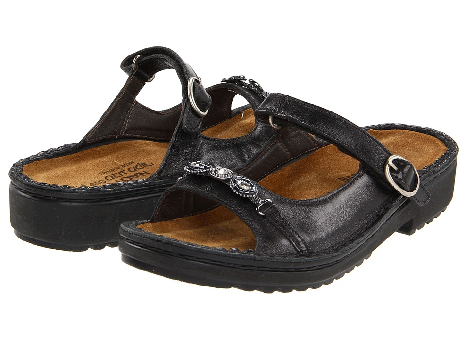 Naot - Kyra (Midnight Black Leather) Women's Slide Shoes