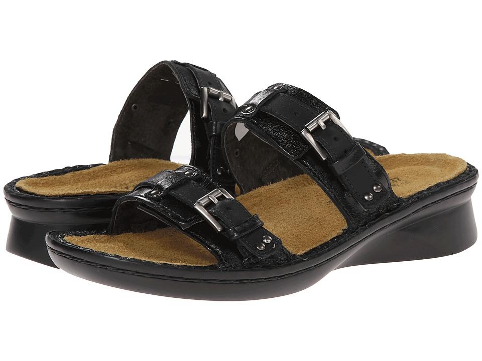 Naot Footwear Karaoke (Black Matte Leather / Jet Black Leather) Women's Slide Shoes
