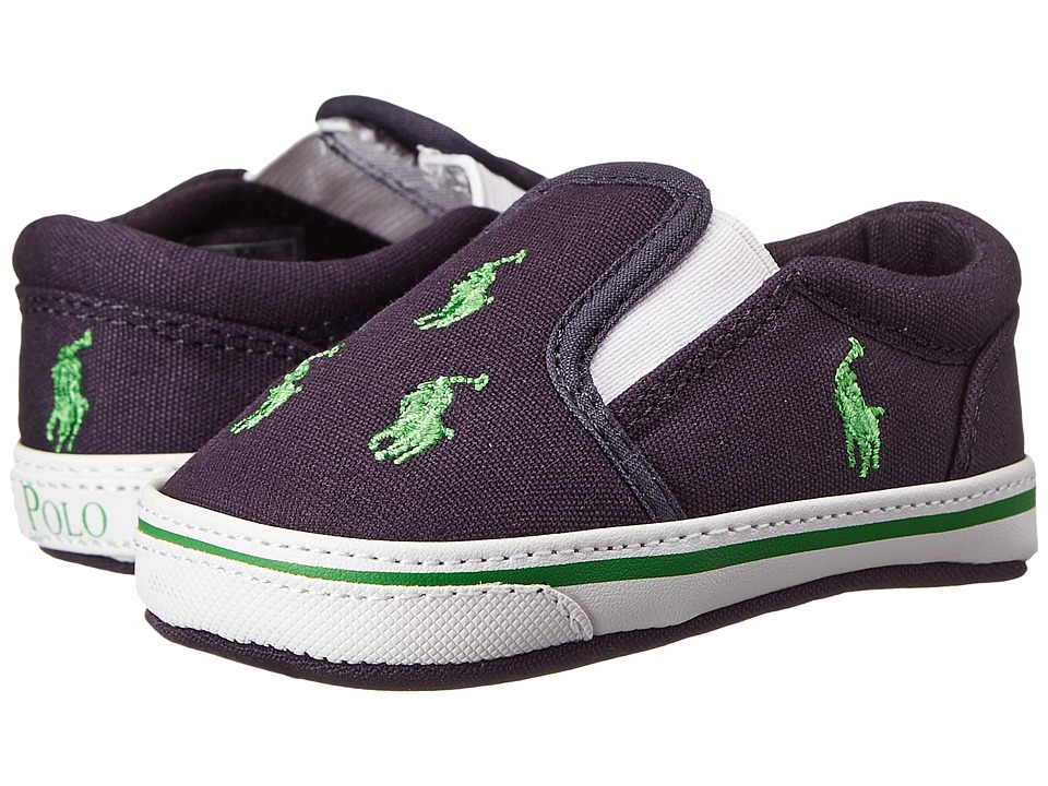 Ralph Lauren Layette Kids Bal Harbour Repeat Soft Sole Infant/Toddler Navy/Green Canvas Boys Shoes