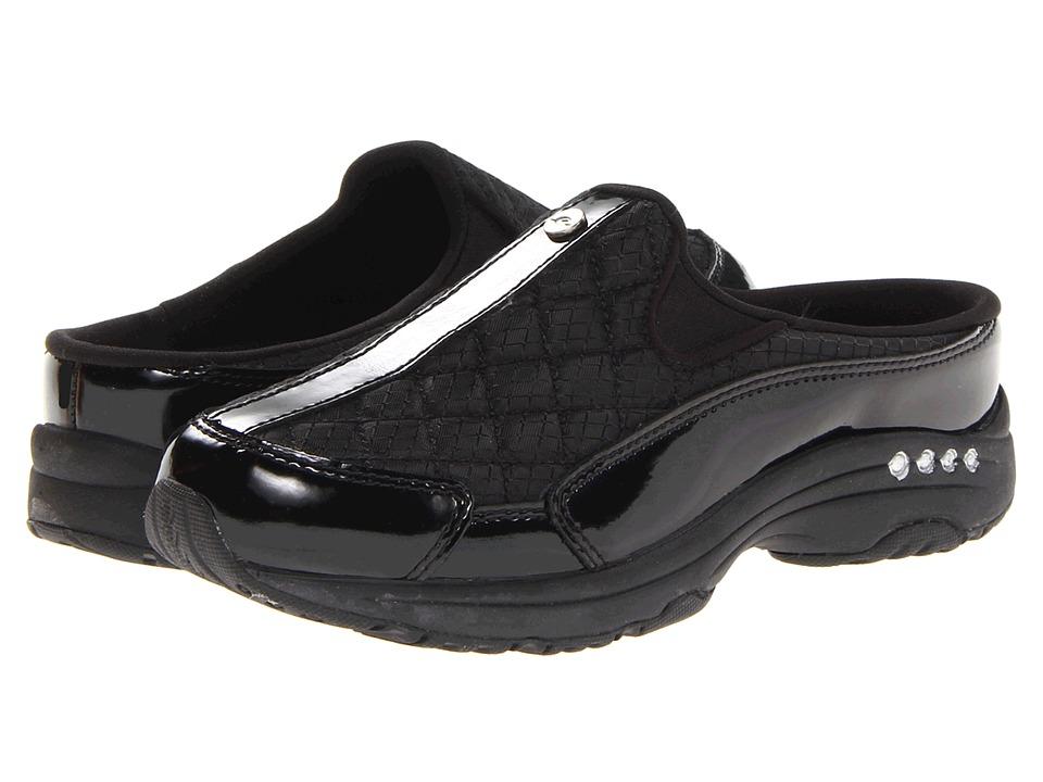 Easy Spirit Traveltime (Black Patent Leather/Silver) Women's Clogs