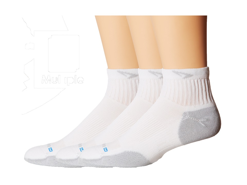 Drymax Sport - Sport Quarter-Crew 3-Pair Pack (White/Grey) Quarter Length Socks Shoes