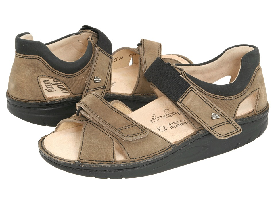 Finn Comfort - Samara - 1560 (Mud/Black Leather) Sandals