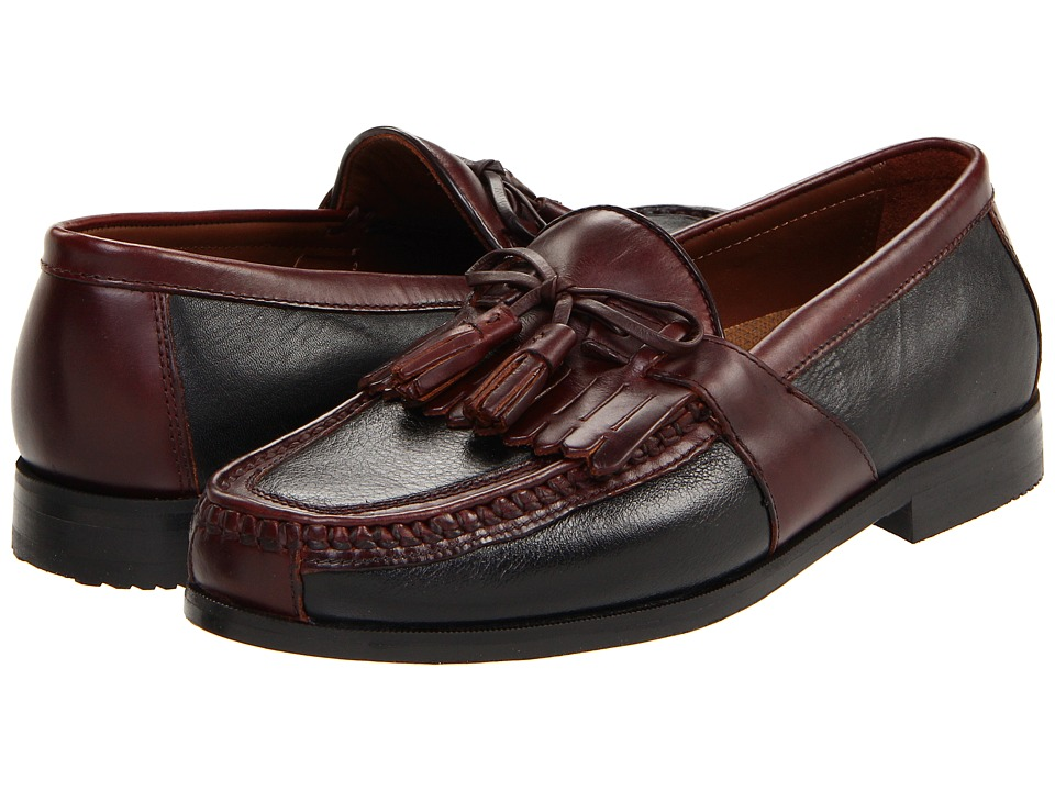 Johnston & Murphy - Aragon II (Black Deer w/Antique Chestnut Waxhide Trim) Mens Slip on  Shoes
