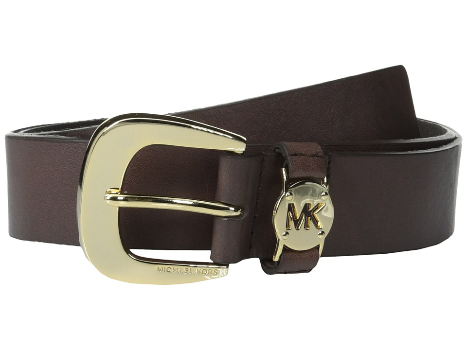 MICHAEL Michael Kors 1 5/8 Cut Out Logo Disc Loop (Chocolate/Gold) Women