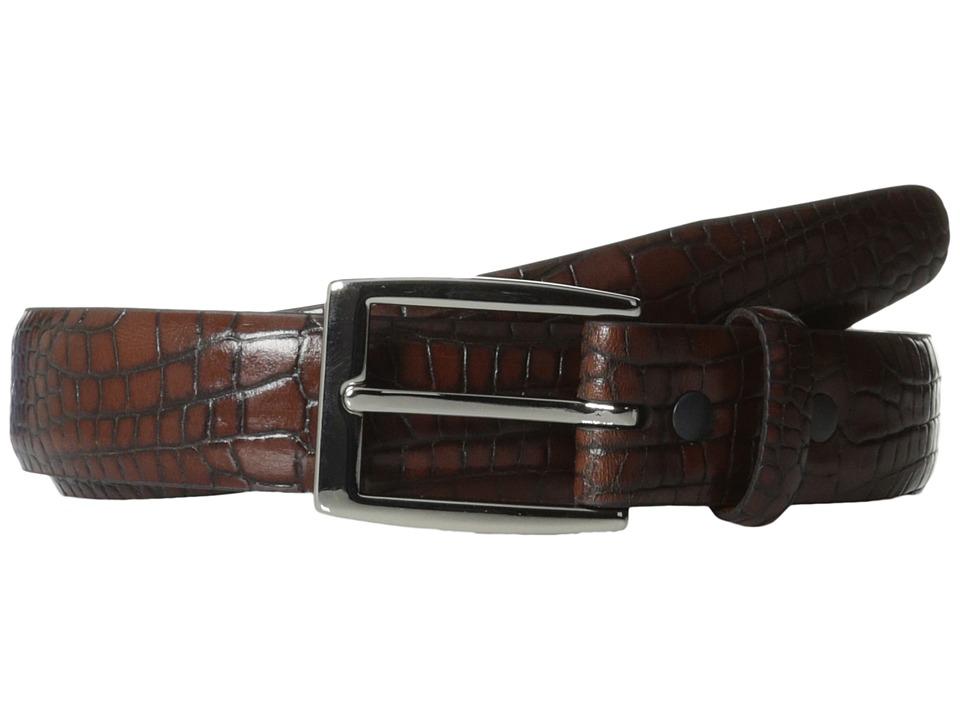 Torino Leather Co. 30MM Alligator Calfskin Cognac Antic Brush Off Mens Belts