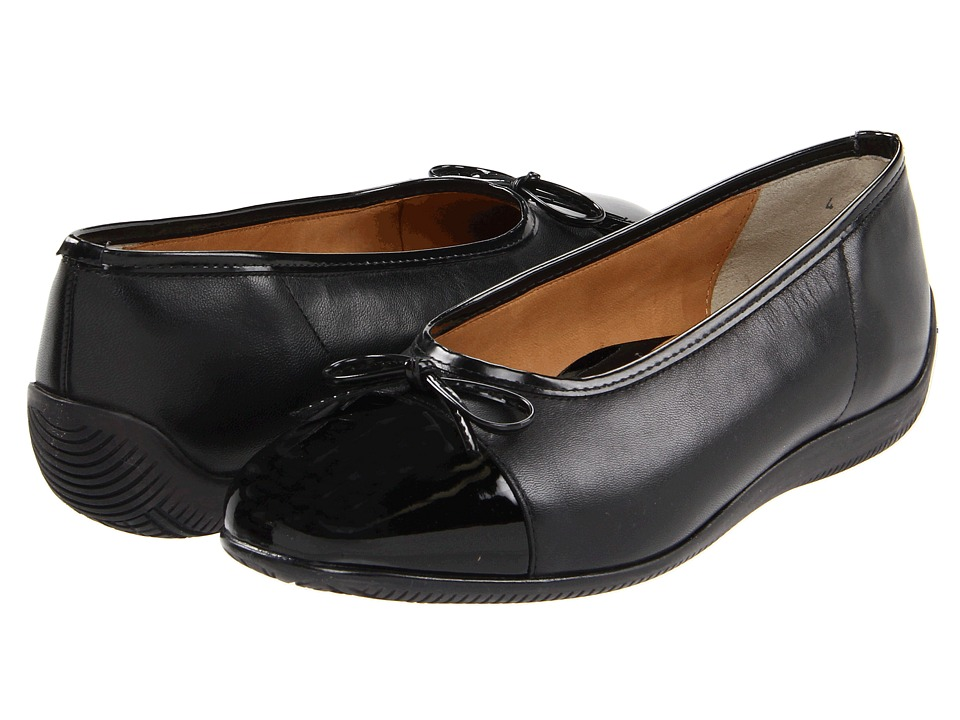 ara Bella Black Leather w/Patent Toe Womens Dress Flat Shoes