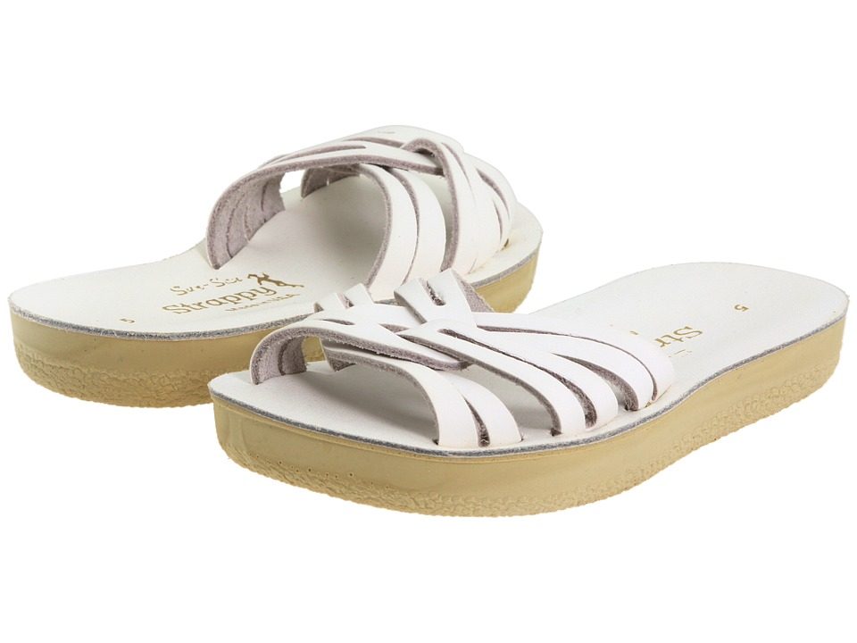 Salt Water Sandals Sun-San Strappy Slide (Toddler/Little Kid) (White) Girls Shoes