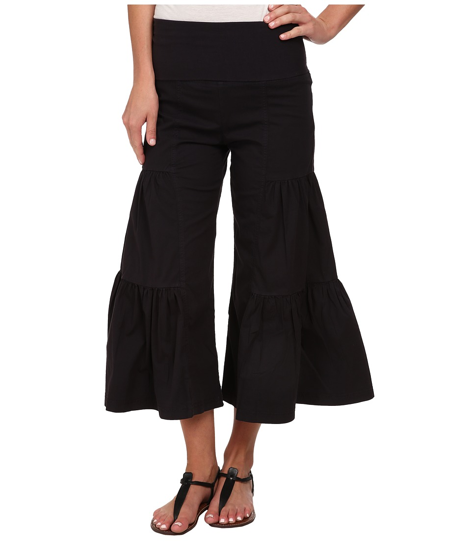 XCVI Cropped Side Tier Palazzo Black Womens Casual Pants