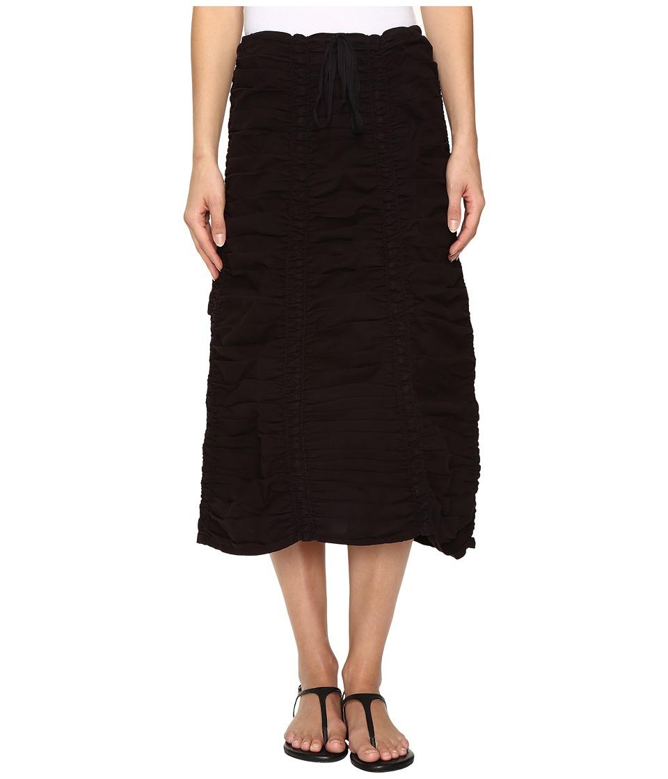 XCVI Stretch Poplin Double Shirred Panel Skirt (Black) Women