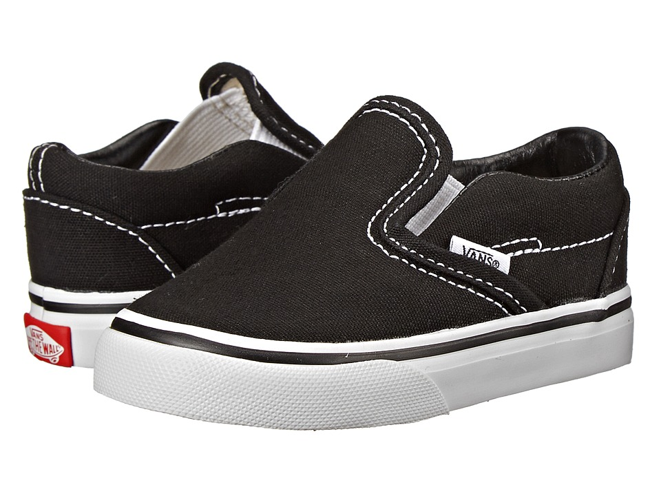 Vans Kids Classic Slip-On Core (Toddler) (Black) Kids Shoes
