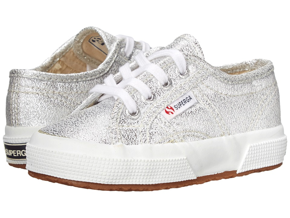 Superga Kids 2750 LAMEJ (Toddler/Little Kid) (Silver Metallic SP 11) Girl's Shoes
