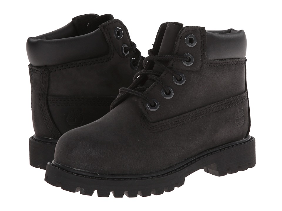 Timberland Kids 6 Premium Waterproof Boot Core Toddler/Little Kid Black Nubuck Boys Shoes