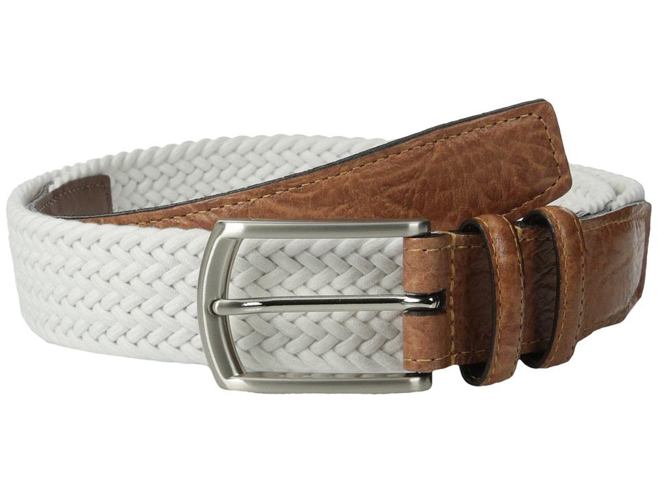 Torino Leather Co. 32MM Italian Woven Multi Cotton Elastic White Mens Belts