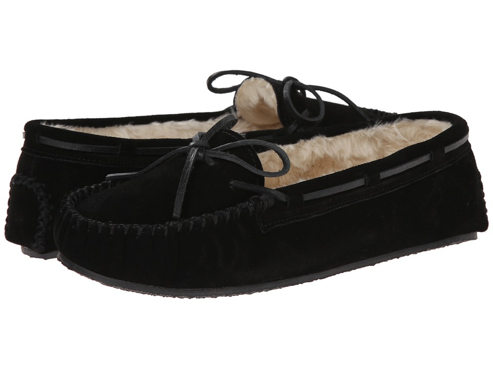 Minnetonka Cally Slipper Black Suede Womens Moccasin Shoes