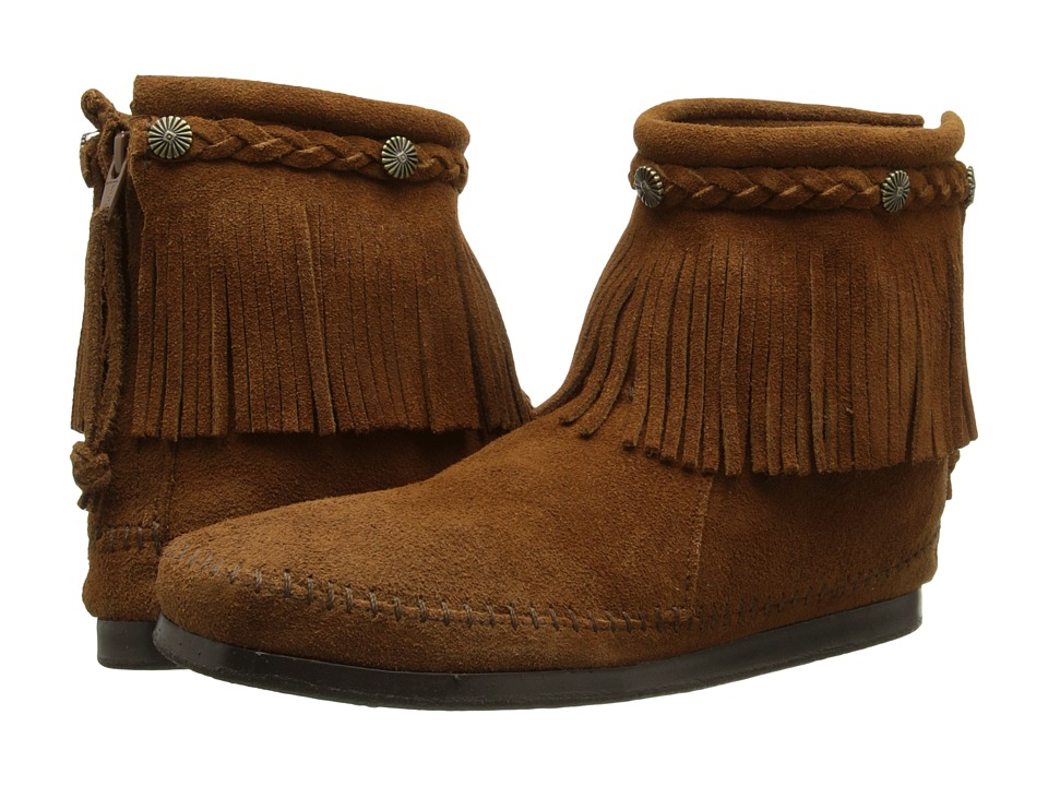 Minnetonka Hi-Top Back Zip Boot (Dusty Brown Suede)