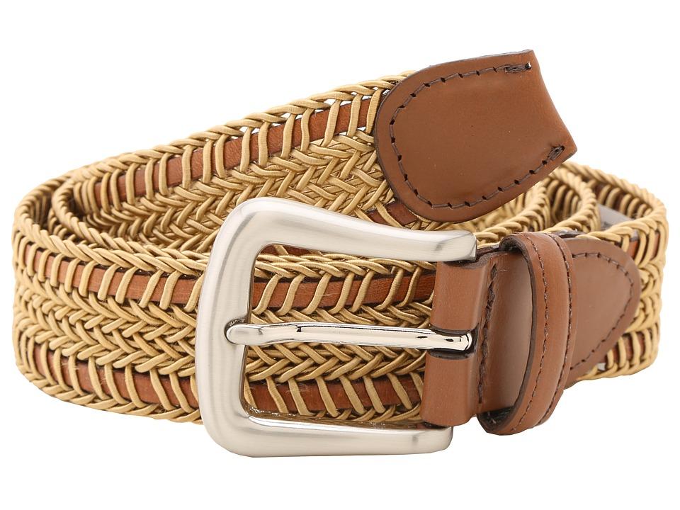 Torino Leather Co. 30MM Woven Italian Rayon Over Kipskin Camel Mens Belts