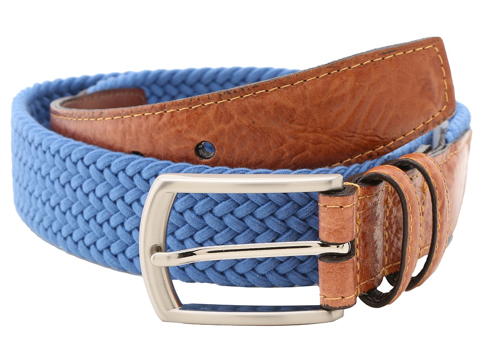 Torino Leather Co. 32MM Italian Woven Multi Cotton Elastic Royal Mens Belts