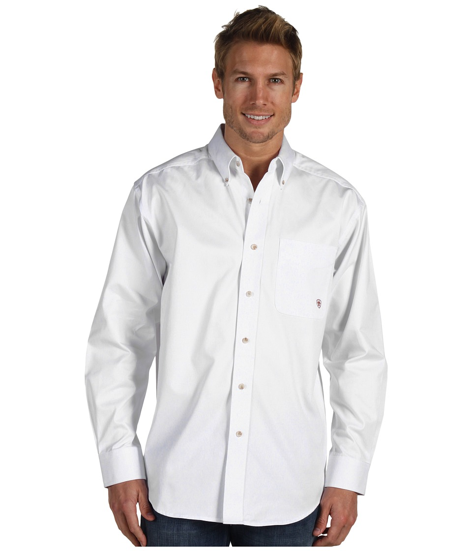 Ariat Solid Twill Shirt White Mens Long Sleeve Button Up