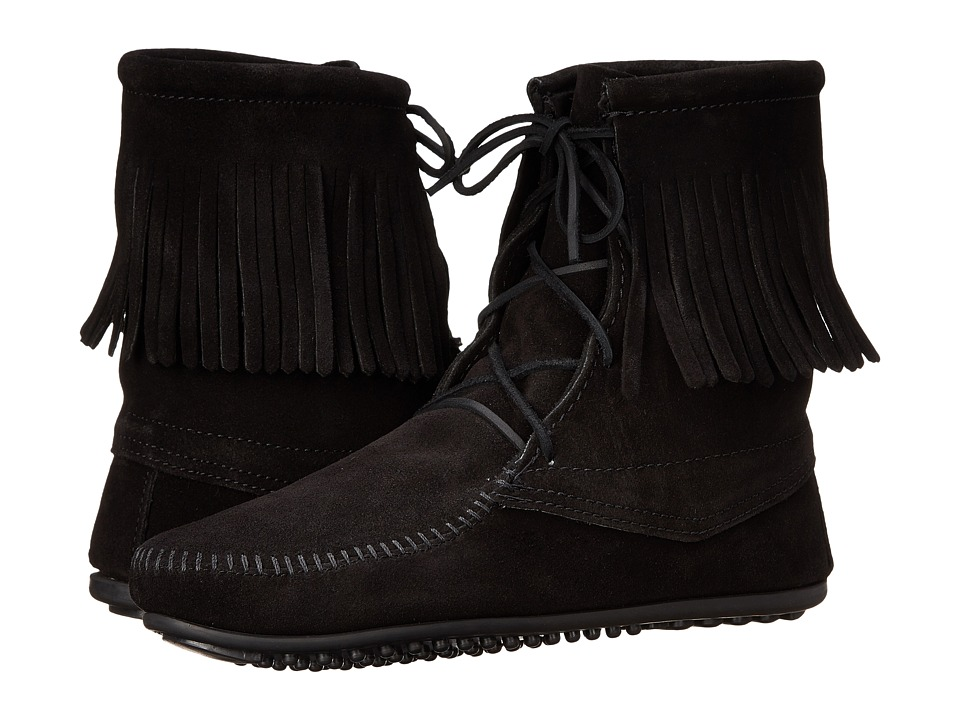 Minnetonka Tramper Ankle Hi Boot (Black Suede) Women