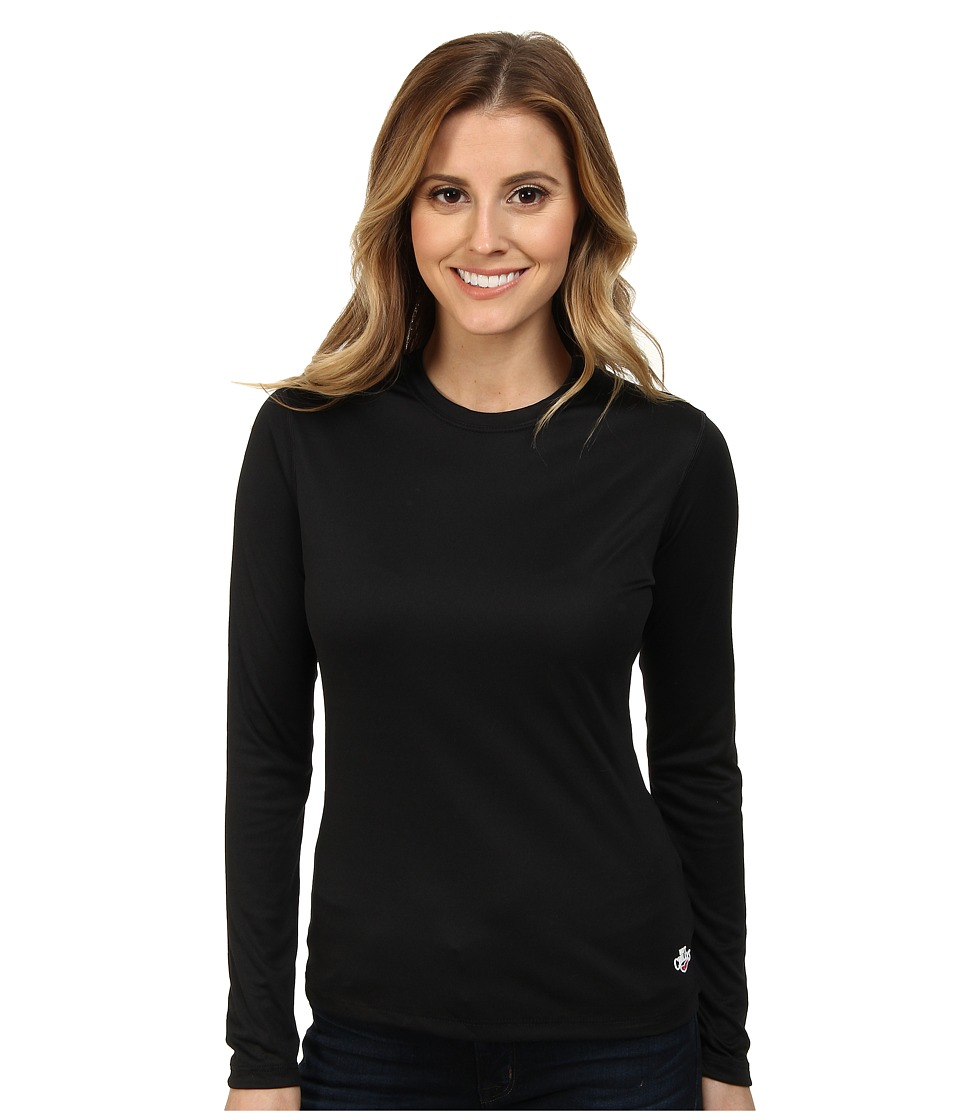 Hot Chillys - Crewneck Peachskins (Black) Womens Long Sleeve Pullover