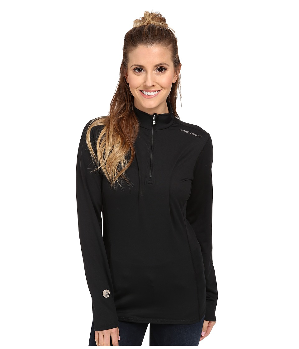 Hot Chillys Micro Elite Chamois 8K Solid Zip T Black Womens Long Sleeve Pullover