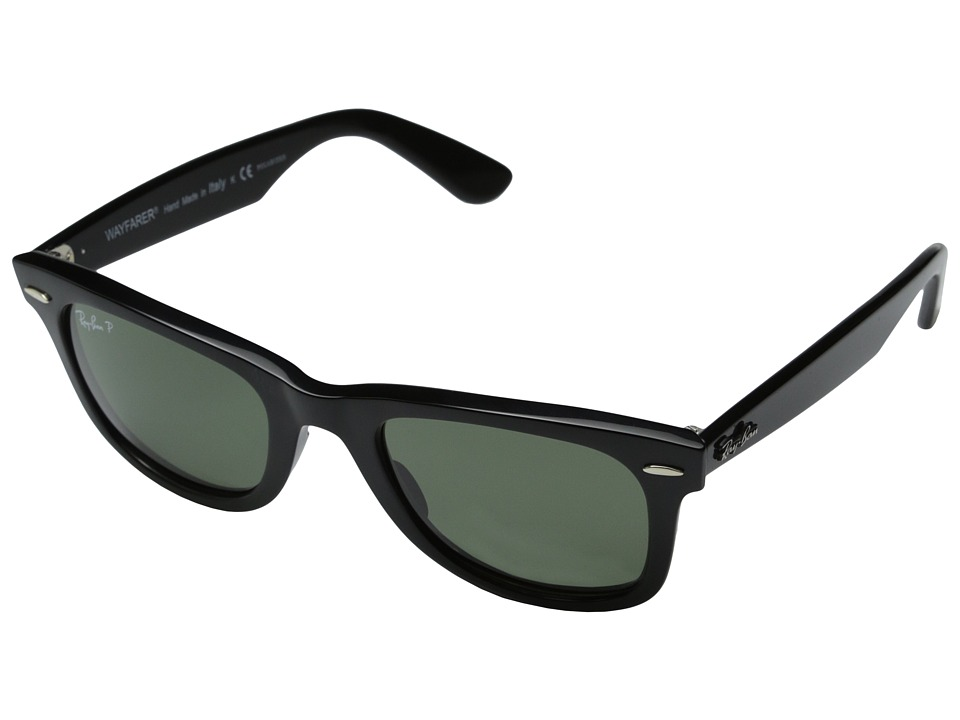 Ray-Ban - RB2140 Original Wayfarer Polarized 50 (Black/Natural Green Polarized Lens) Sport Sunglasses