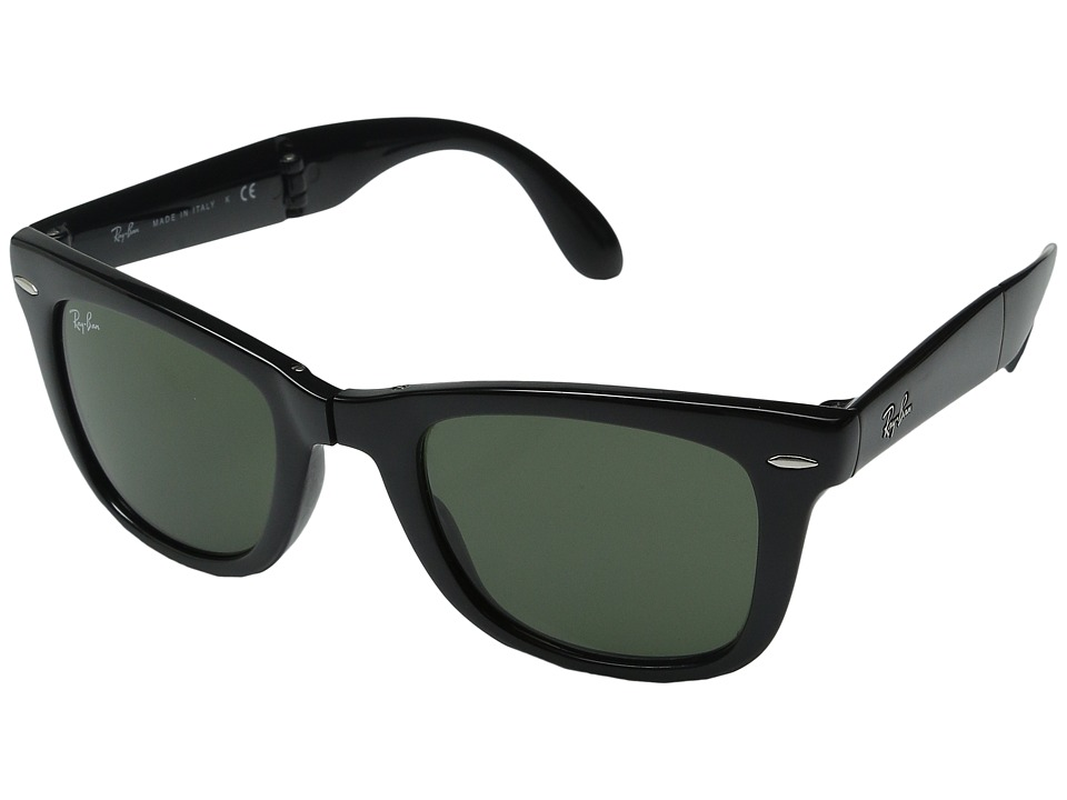 Ray-Ban - RB4105 Wayfarer Folding 50mm (Black/G-15xlt Lens) Plastic Frame Fashion Sunglasses
