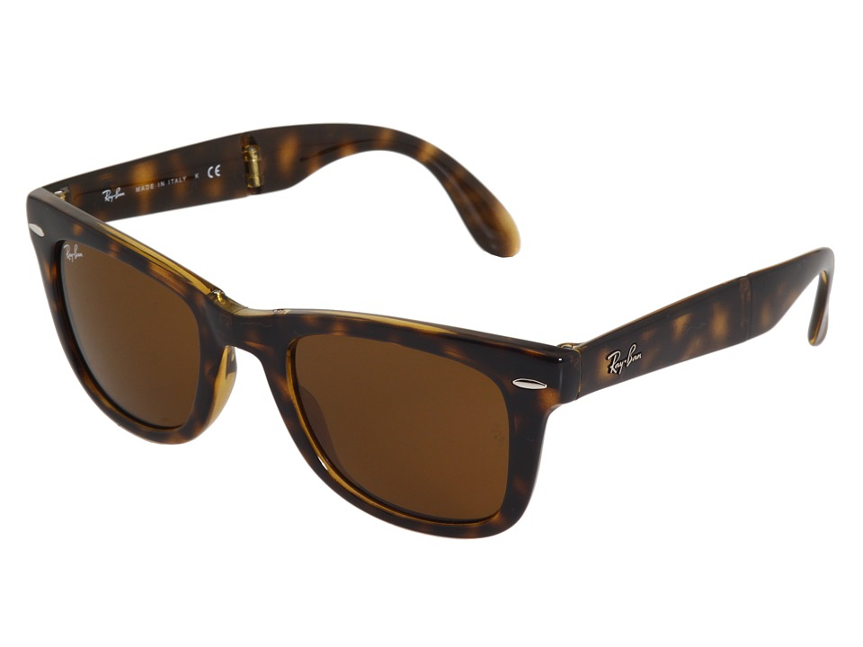 Ray-Ban RB4105 Wayfarer Folding 50mm (Shiny Avana/B-15xlt Lens) Plastic Frame Fashion Sunglasses