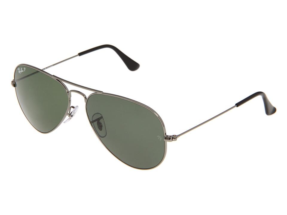 Ray-Ban RB3025 Original Aviator Polarized 58mm (Gunmetal/Natural Green Polarized) Sport Sunglasses