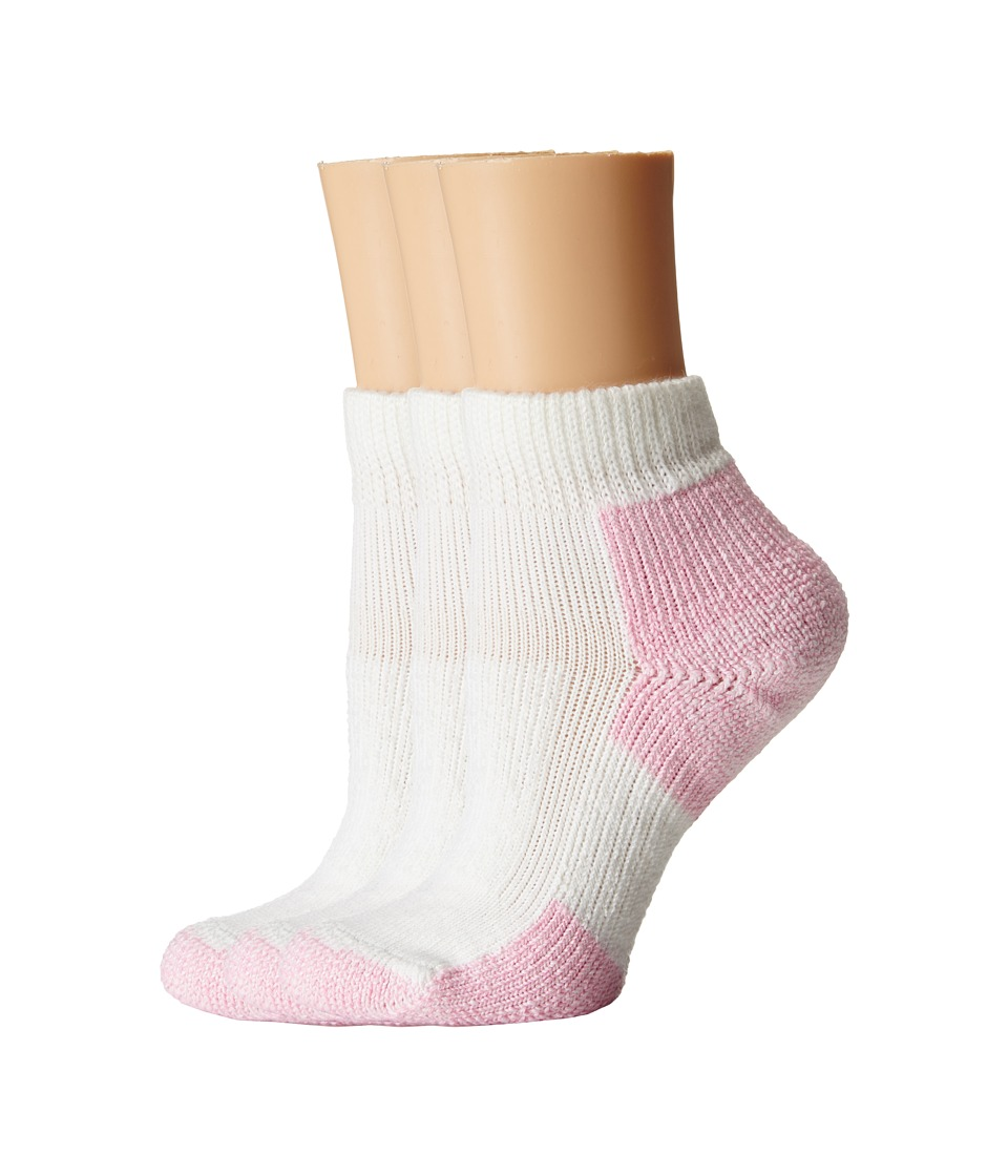Thorlos - Thick Cushion Distance Walking 3-Pair Pack (White/Pink) Womens Quarter Length Socks Shoes
