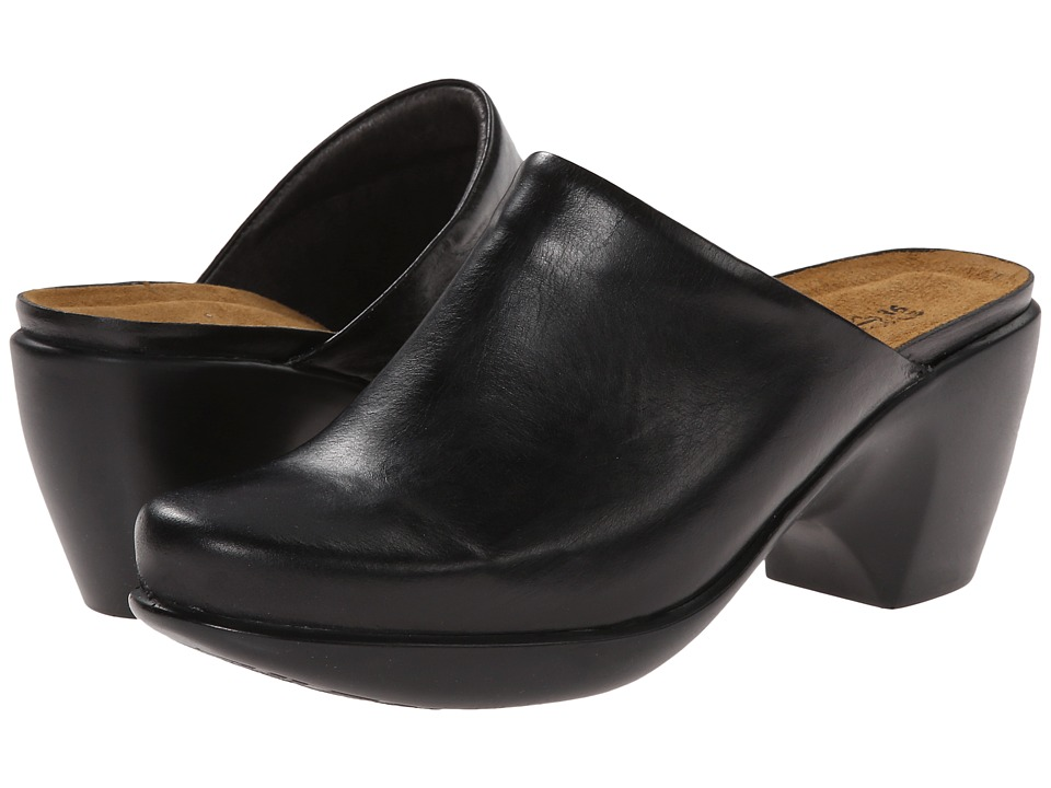 Naot Footwear Dream Black Madras Leather Womens Clog/Mule Shoes