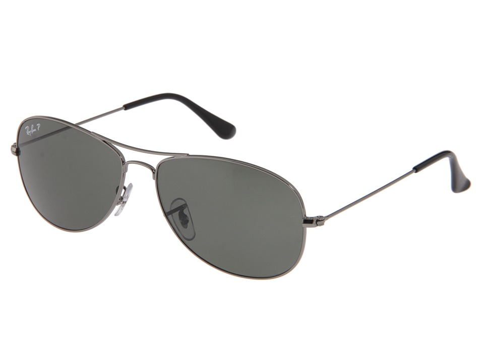 Ray-Ban 3362 Cockpit-Polarized Medium (Gunmetal/Natural Green Polarized) Fashion Sunglasses
