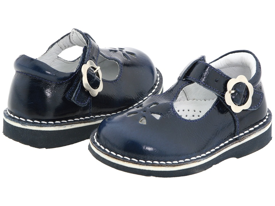 Kid Express Molly Toddler/Little Kid/Big Kid Navy Burnished Leather Girls Shoes