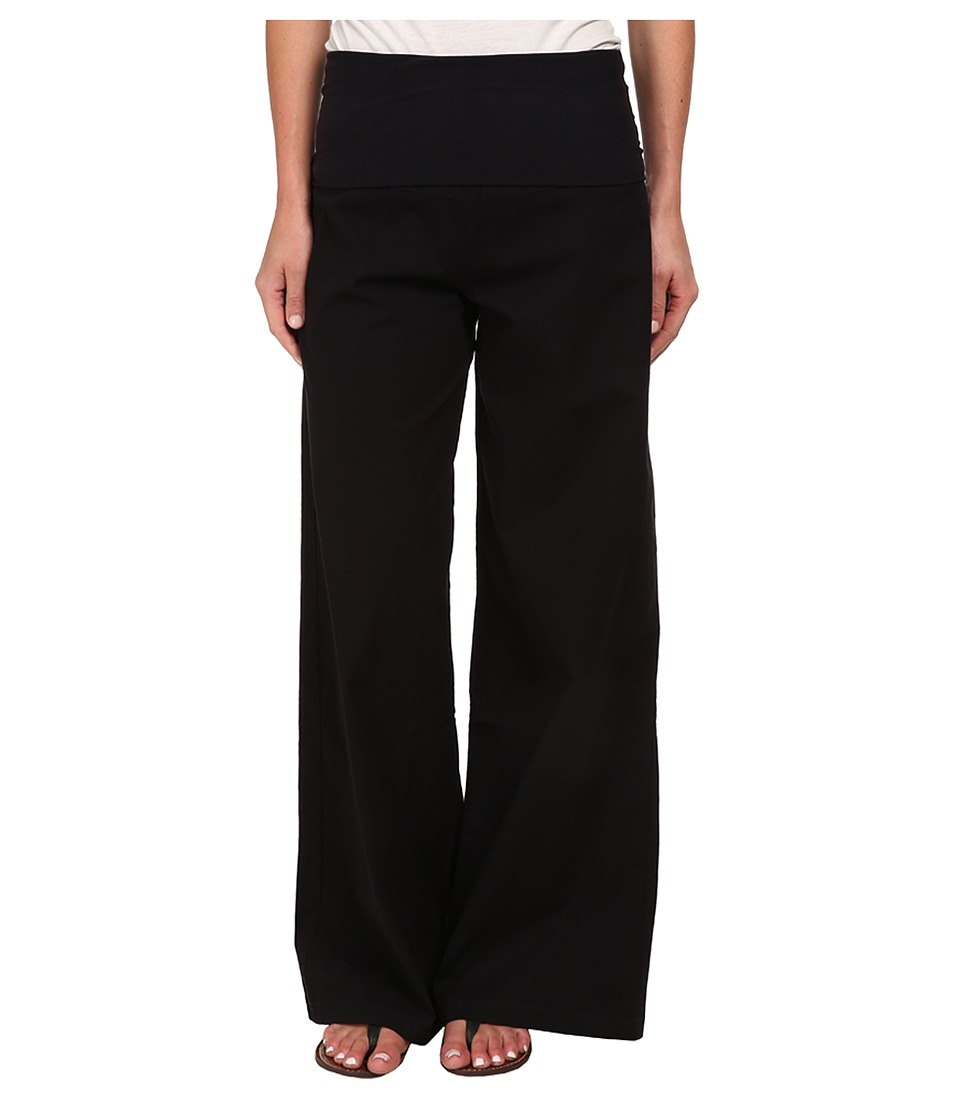 XCVI Fold Over Palazzo Black Womens Casual Pants