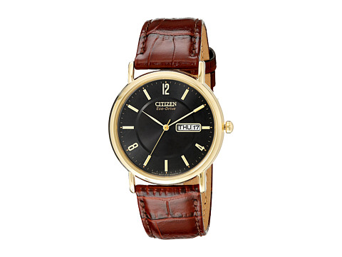 Citizen Watches BM8242-08E Eco-Drive Leather Watch - Brown Band/Gold Case/Black Dial