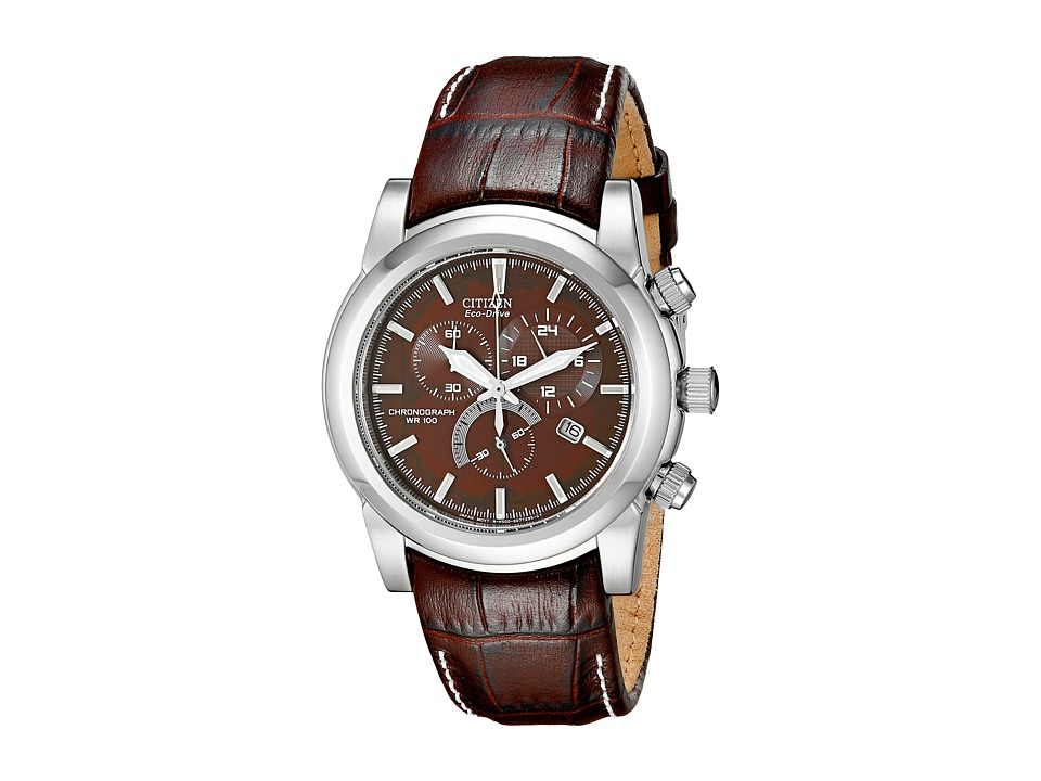 Citizen Watches AT0550 11X Eco Drive Chronograph Stainless Watch Brown Band/Silver Case/Brown Dial Watches