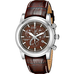 Citizen Watches AT0550-11X Eco-Drive Chronograph Stainless Watch Brown Band/Silver Case/Brown Dial
