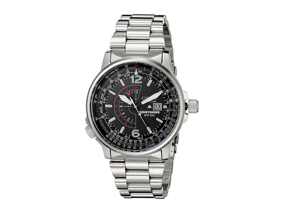 Citizen Watches BJ7000 52E Eco Drive Nighthawk Stainless Steel Watch Silver Band/Silver Case/Black Dial Watches